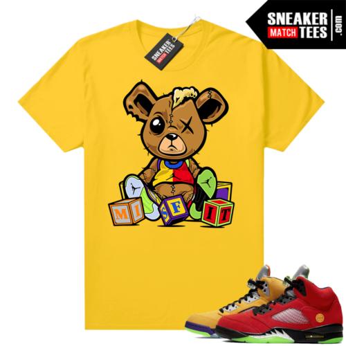 What the 5s Jordan Sneaker Tee Shirts Yellow Misfit Teddy