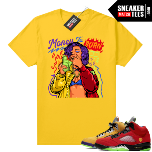 What the 5s Jordan Sneaker Tee Shirts Yellow Money To Burn