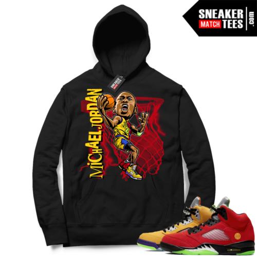 What the 5s Sneaker Hoodie Black MJ toon