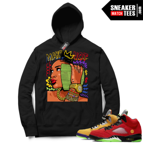 What the 5s Sneaker Hoodie Black Make Money Not Friends