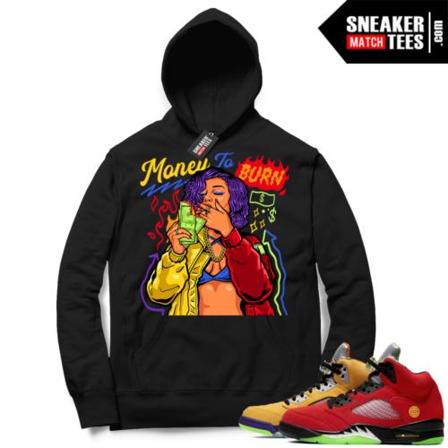 What the 5s Sneaker Hoodie Black Money To Burn