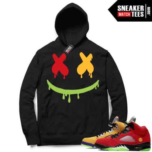 What the 5s Sneaker Hoodie Black Smiley Drip