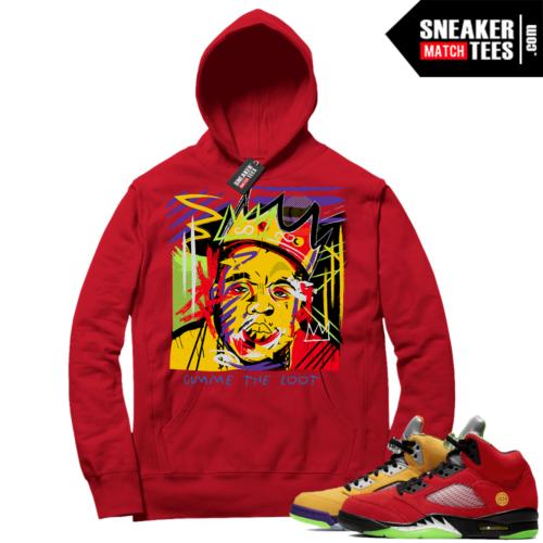 What the 5s Sneaker Hoodie Red Biggie Basquiat