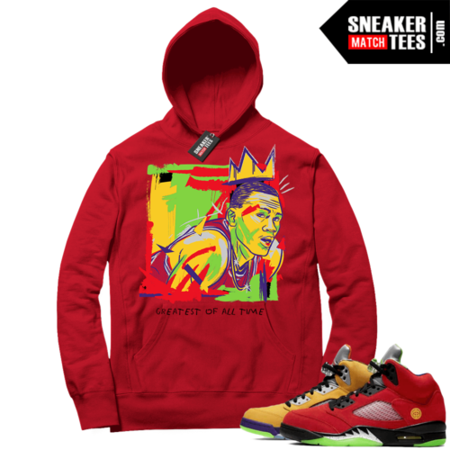What the 5s Sneaker Hoodie Red Goat Basquiat