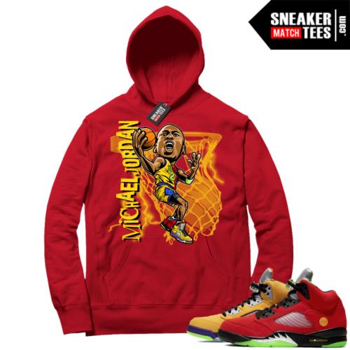 What the 5s Sneaker Hoodie Red MJ Toon