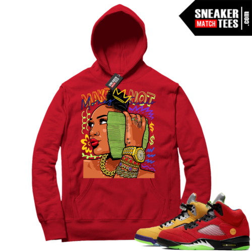 What the 5s Sneaker Hoodie Red Make Money Not Friends