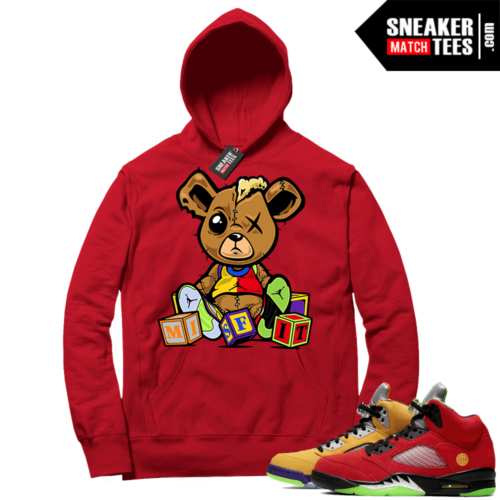 What the 5s Sneaker Hoodie Red Misfit Teddy