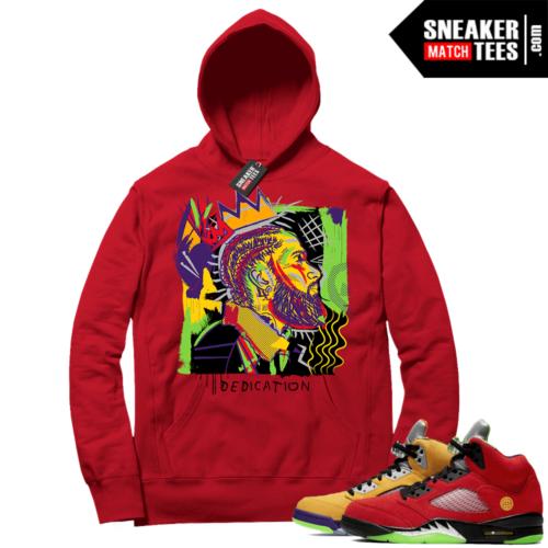 What the 5s Sneaker Hoodie Red Nipsey Basquiat