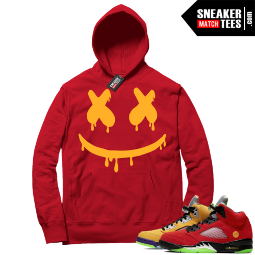What the 5s Sneaker Hoodie Red Smiley Drip