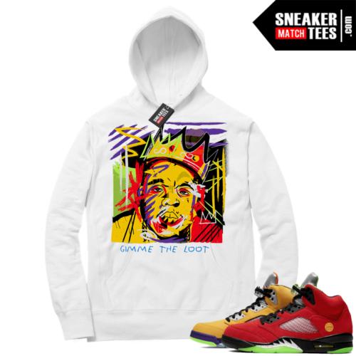 What the 5s Sneaker Hoodie White Biggie Basquiat