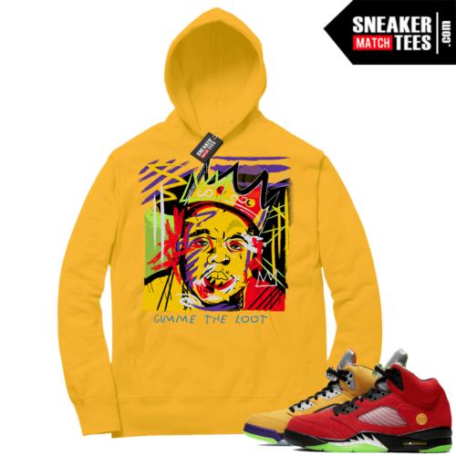 What the 5s Sneaker Hoodie Yellow Gold Biggie Basquiat