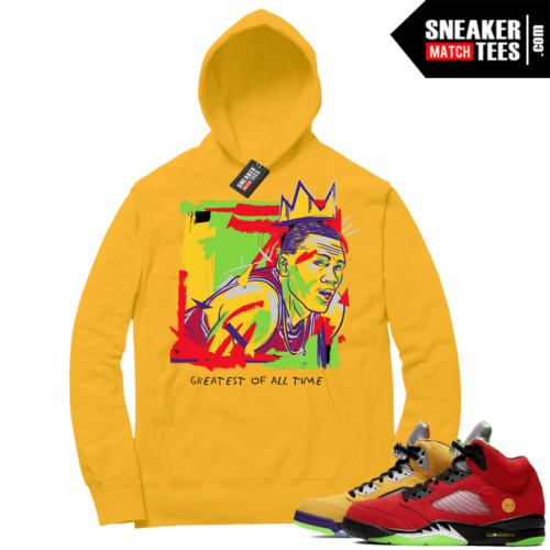 What the 5s Sneaker Hoodie Yellow Gold Goat Basquiat