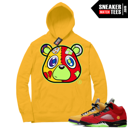 What the 5s Sneaker Hoodie Yellow Gold Heartless Bear
