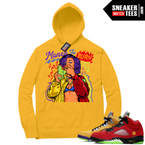 What the 5s Sneaker Hoodie Yellow Gold Money To Burn