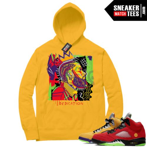 What the 5s Sneaker Hoodie Yellow Gold Nipsey Basquiat