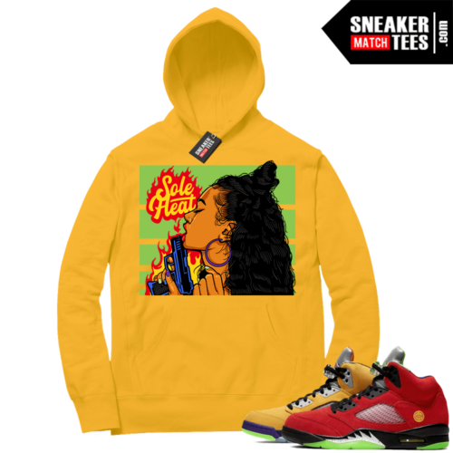 What the 5s Sneaker Hoodie Yellow Gold Sole Heat