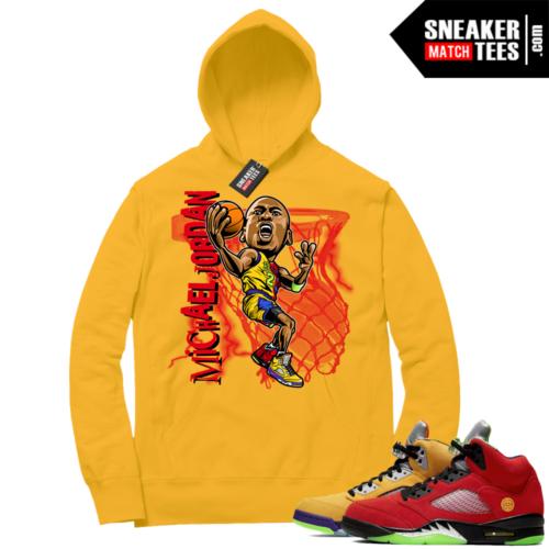 What the 5s Sneaker Hoodie Yellow MJ Toon