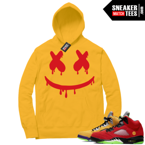 What the 5s Sneaker Hoodie Yellow Smiley Drip