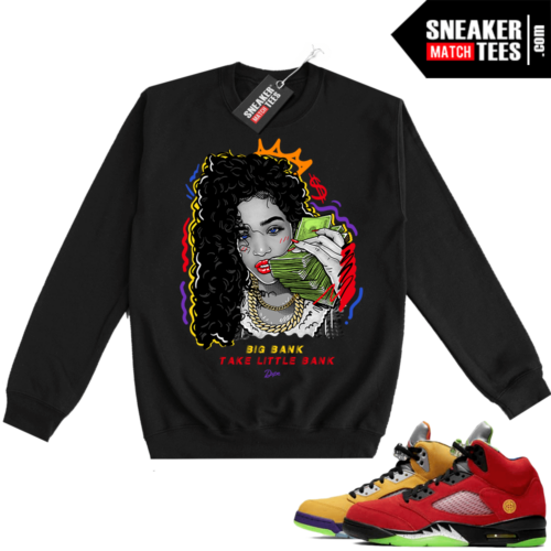 What the 5s Sweatshirt Crewneck Black Big Bank