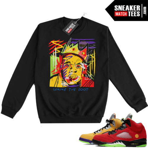 What the 5s Sweatshirt Crewneck Black Biggie Basquiat