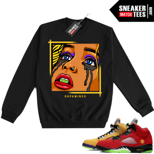 What the 5s Sweatshirt Crewneck Black DOPAMINE