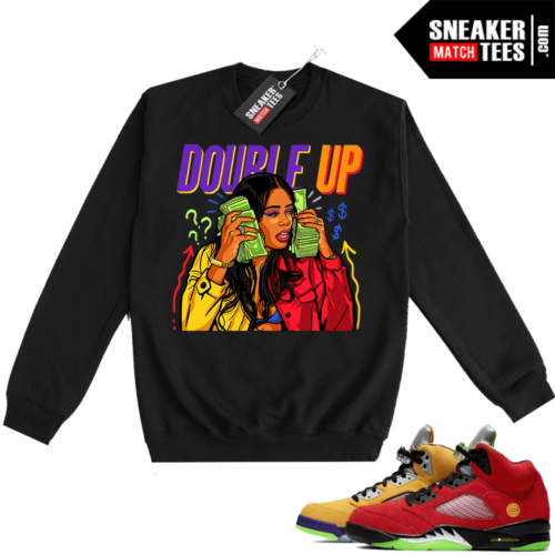 What the 5s Sweatshirt Crewneck Black Double Up Gang