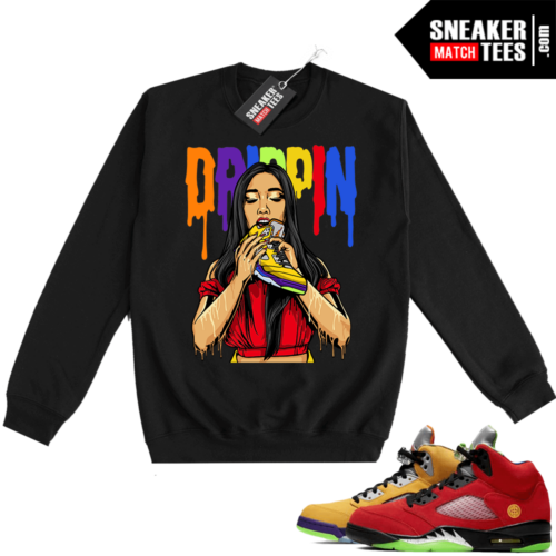 What the 5s Sweatshirt Crewneck Black Drippin 5s