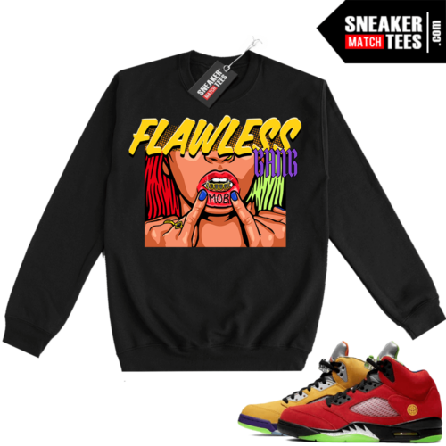 What the 5s Sweatshirt Crewneck Black Flawless Gang