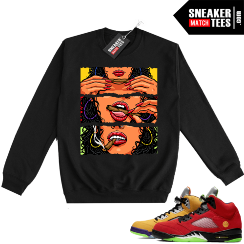 What the 5s Sweatshirt Crewneck Black Get Lit