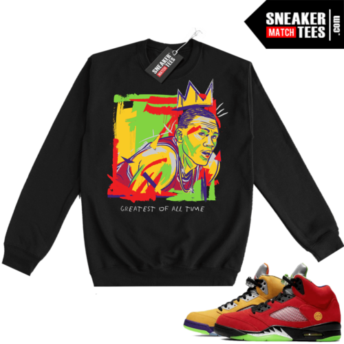 What the 5s Sweatshirt Crewneck Black Goat Basquiat