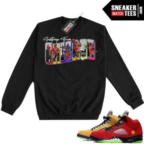 What the 5s Sweatshirt Crewneck Black Greetings From Chicago