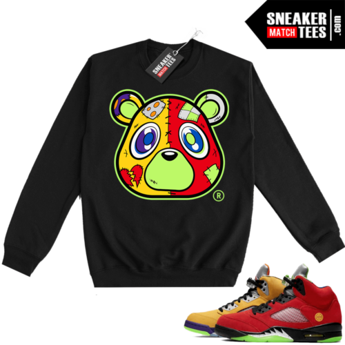 What the 5s Sweatshirt Crewneck Black Heartless Bear