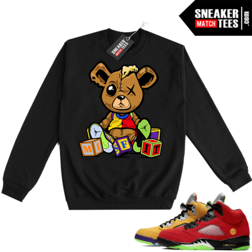 What the 5s Sweatshirt Crewneck Black Misfit Teddy