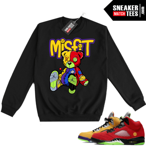 What the 5s Sweatshirt Crewneck Black Misfit Voodoo Sneaker Bear