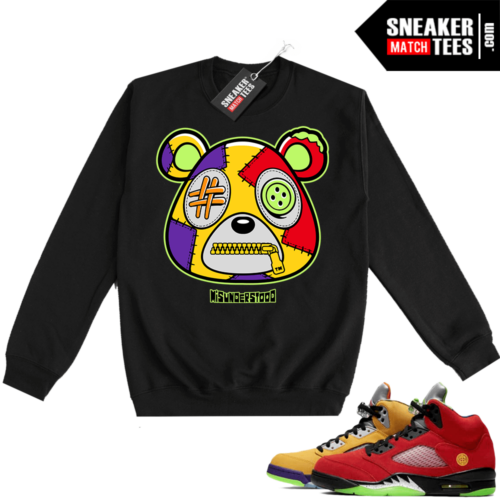 What the 5s Sweatshirt Crewneck Black Misunderstood Bear