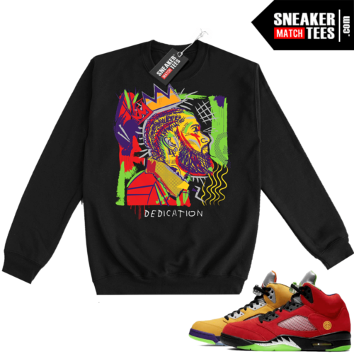 What the 5s Sweatshirt Crewneck Black Nipsey Basquiat