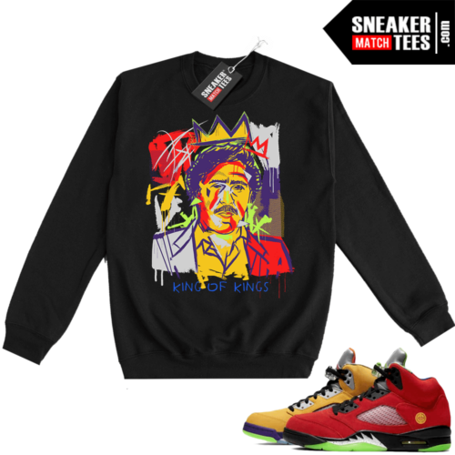What the 5s Sweatshirt Crewneck Black Pablo Basquiat