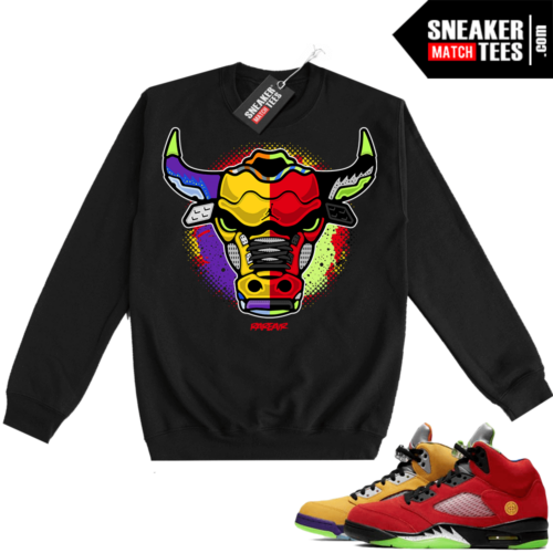 What the 5s Sweatshirt Crewneck Black Rare Air Bull