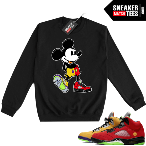 What the 5s Sweatshirt Crewneck Black Sneakerhead Mickey