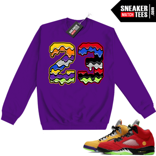 What the 5s Sweatshirt Crewneck Purple 23 Drip