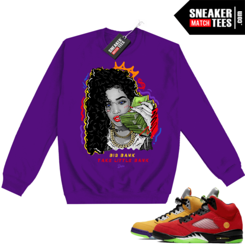 What the 5s Sweatshirt Crewneck Purple Big Bank