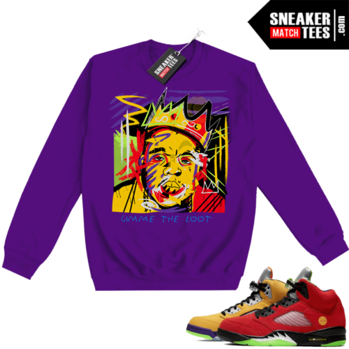 What the 5s Sweatshirt Crewneck Purple Biggie Basquiat