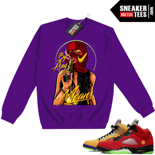 What the 5s Sweatshirt Crewneck Purple By Any Means