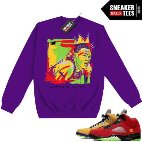 What the 5s Sweatshirt Crewneck Purple Goat Basquiat