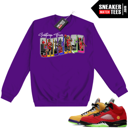 What the 5s Sweatshirt Crewneck Purple Greetings From Chicago