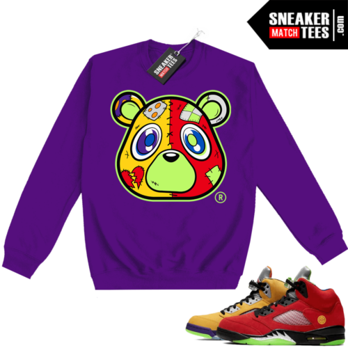 What the 5s Sweatshirt Crewneck Purple Heartless Bear
