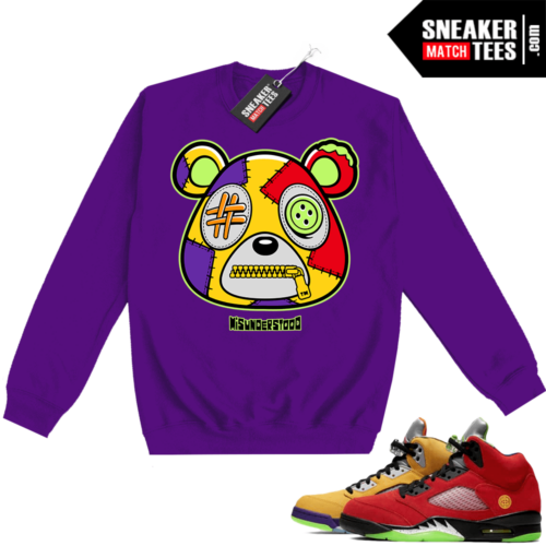 What the 5s Sweatshirt Crewneck Purple Misunderstood Bear