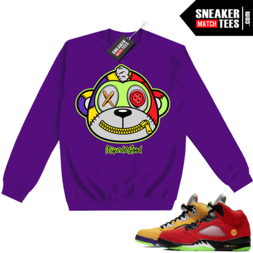 What the 5s Sweatshirt Crewneck Purple Misunderstood Monkey