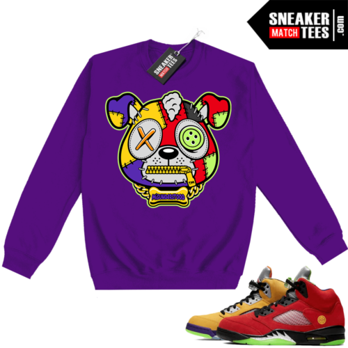 What the 5s Sweatshirt Crewneck Purple Misunderstood Puppy