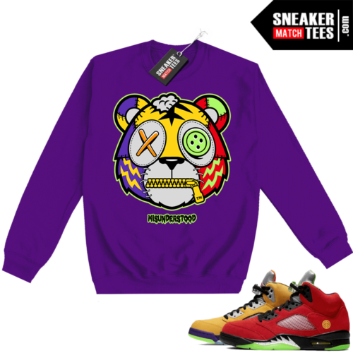 What the 5s Sweatshirt Crewneck Purple Misunderstood Tiger